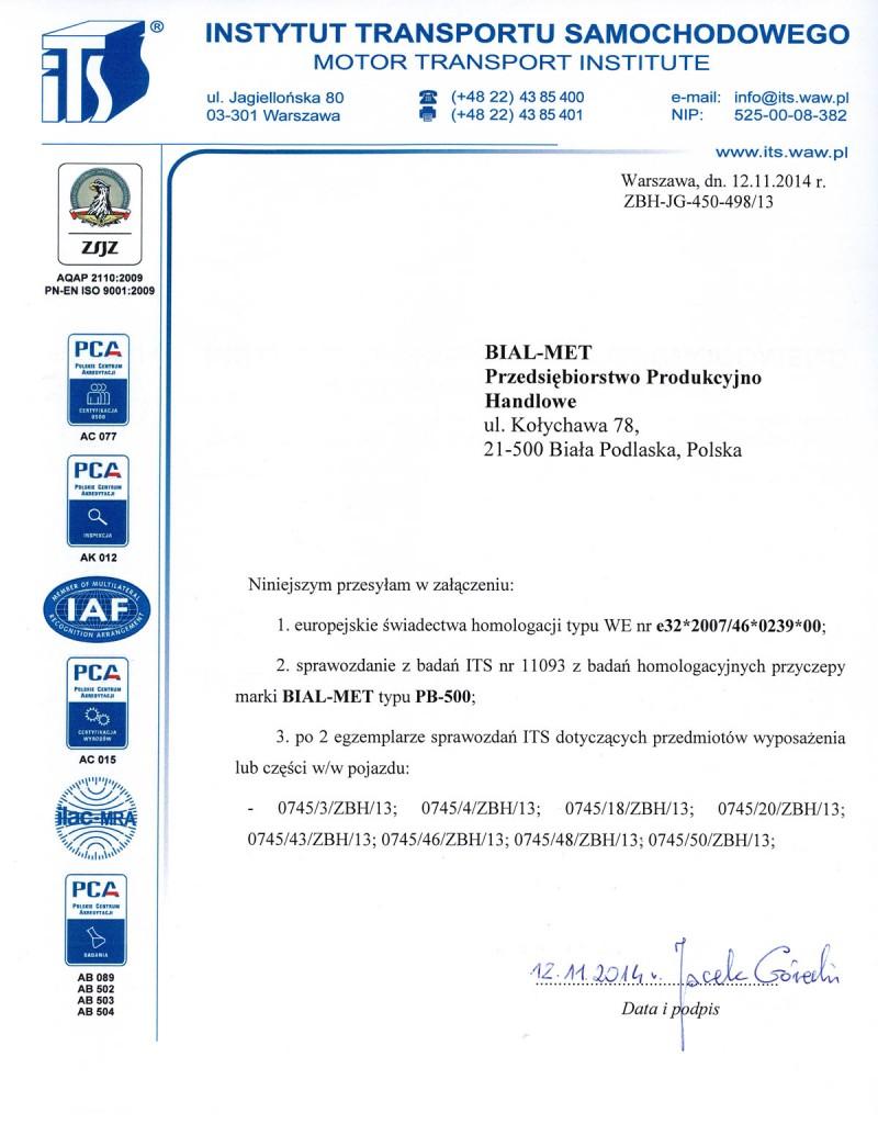 Świadectwo homologacji przyczepy marki Bial met